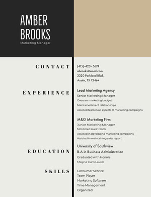 Black and Grey Marketing Manager Resume Resume  Examples