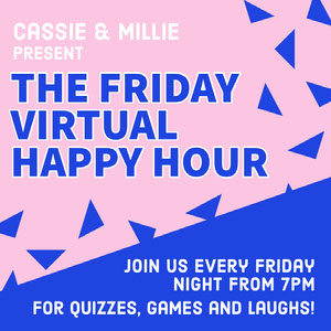 Pink & Blue Triangles Virtual Happy Hour Instagram Square Happy Hour Invitations