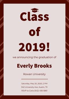 Pink Graduation Announcement Card Education