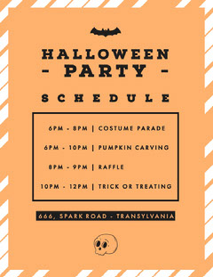 Halloween Pumpkin Bat Party Schedule Halloween Party Schedule