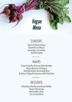 White and Green Vegan Menu Vegan