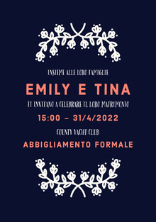 dark blue white floral wedding cards Biglietti di ringraziamento per il matrimonio