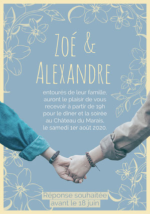 Yellow and blue Floral Wedding Invitation A5 E-mail d'invitation
