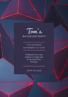 Blue and Pink Bachelorette Party Invitation Party