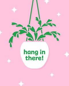 Pink and Green Cute Hanging Planter Encouraging Quote Cactus