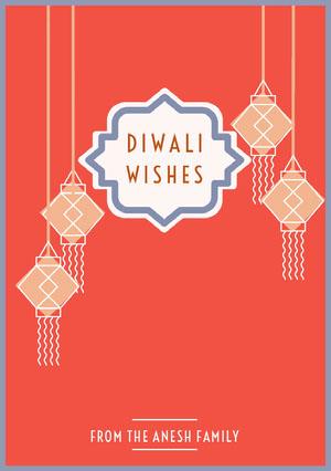 Red and White Happy Diwali Card Diwali