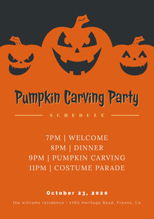 Halloween Pumpkin Carving Party Schedule 行程表