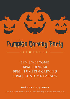 Halloween Pumpkin Carving Party Schedule Halloween Party Schedule