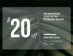 Green Massage Parlor Discount Birthday Coupon with Leaves Spa
