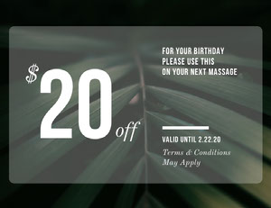 Green Massage Parlor Discount Birthday Coupon with Leaves Bon