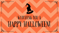 Orange Zig Zag and Witch Hat Halloween Party Gift Tag Halloween Gift Tag