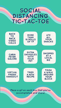 Blue, Pink and White Tic Tac Toe Instagram Story Bingo-Vorlagen für die Quarantäne