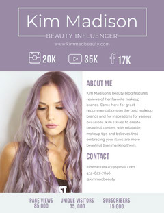 Purple Beauty Influencer Media Kit with Photo of Woman Hair Salon