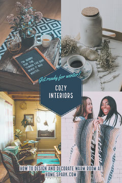 Cozy Interior Design Pinterest Graphic with Collage Interior Design