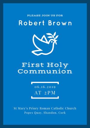 Blue and White Confirmation Invitation Confirmation Invitation
