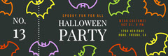 Black and Colorful Halloween Bat House Party Raffle Ticket Holiday Party Flyer