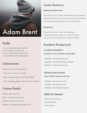 Modern Actor Resume with Photo of Man CV professionnel