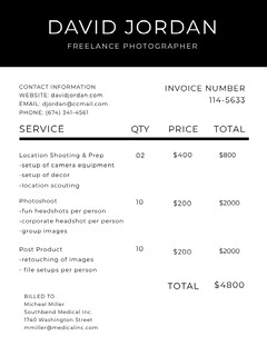Black and White Photographer Invoice Service