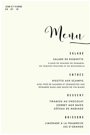 cream white wedding menu Menu