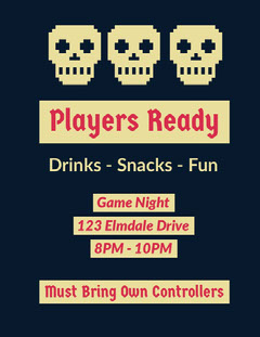 Players Ready Game Night Flyer
