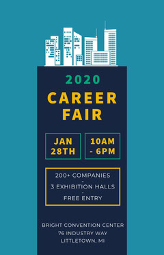 Blue Job Expo Career Fair Flyer  Job Poster