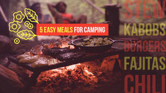 Red and Yellow Easy Camping Food Youtube Thumbnail with Food Cooking on Campfire Cooking
