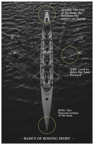 Black and White Rowing Sport Basics Infographic Infographic Examples
