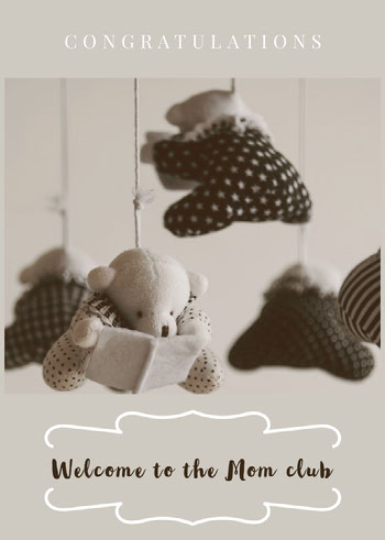 Black and White Welcome Card Baby Shower