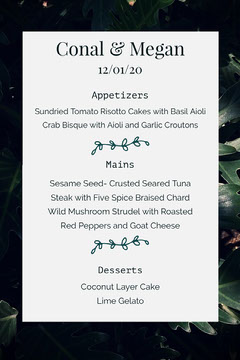 wedding greenhouse menu Green