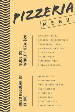Pizzeria Menu Food