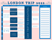 Pink and Blue Travel Timetable Pianificazione