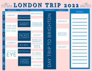Pink and Blue Travel Timetable Timetable Maker