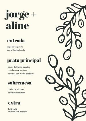 cream white wedding menu  Menu
