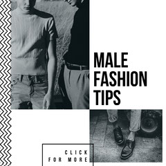 Black and White, Monochrome, LIght Toned, Male Fashion Tips Instagram Post Men
