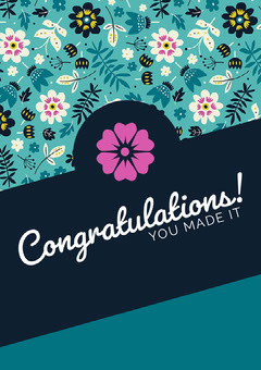 Blue Floral Congratulations Card Lifestyle