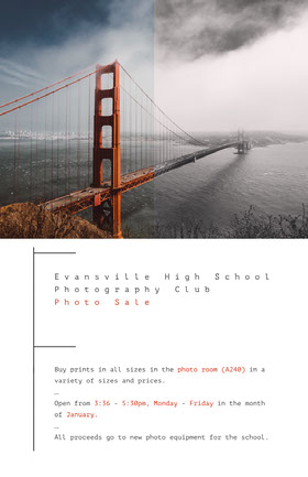 Evansville High School <BR>Photography Club <BR>Photo Sale Folleto de invitación a evento