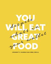 Yellow, White and Black Restaurant Ad Instagram Portrait  Poster für Zitat