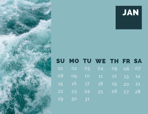 Blue January Calendar with Waves 달력