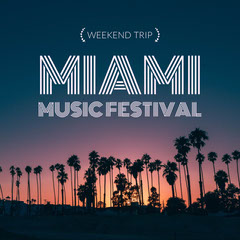 Miami Music Festival Square Instagram Graphic wit Palm Trees at Sunset Festival