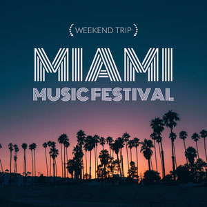 Miami Music Festival Square Instagram Graphic wit Palm Trees at Sunset Cartel de Festival de Música