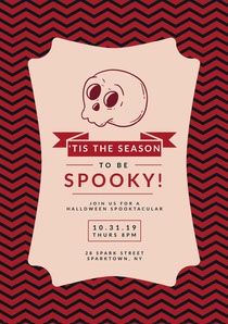 Pink Spooky Season Skull Halloween Party Invitation Scary