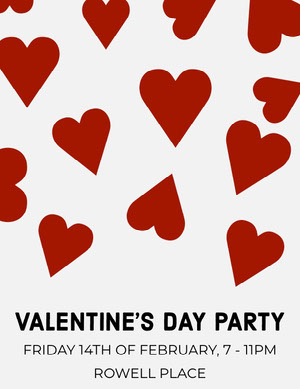Red Hearts Valentine's Day Party Invitation Card Party Invitation