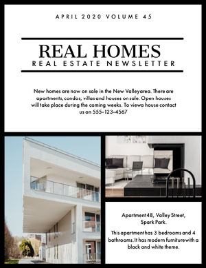 Real Estate Newsletter with Room and Modern House Exterior Newsletter