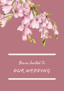 Violet and White Wedding Invitation Tarjetas