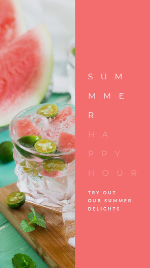Pink Bright Colors Happy Hour Instagram Story Happy Hour Invitations