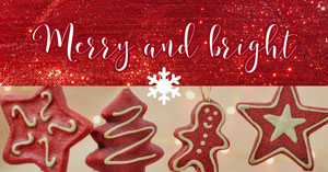 Red Gingerbread Cookie Merry Christmas Instagram Social Post Graphic Christmas Facebook Cover