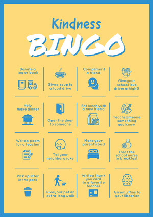 Yellow and Blue School Reward Kindness Bingo Card Cartes de Bingo de quarantaine