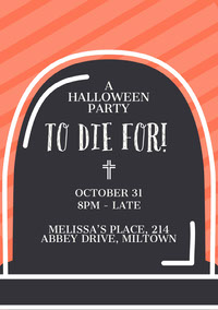 Orange Striped Gravestone Halloween Party Invitation Card Festa di Halloween