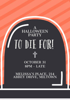 To Die For Halloween Party Invitation Halloween Party Invitation