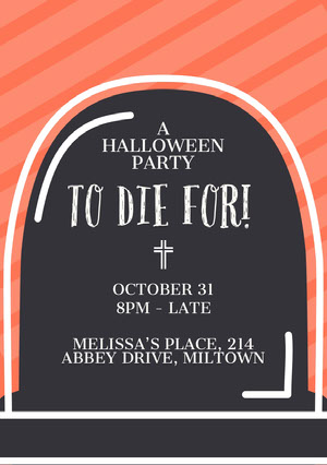 Orange Striped Gravestone Halloween Party Invitation Card Halloween Party